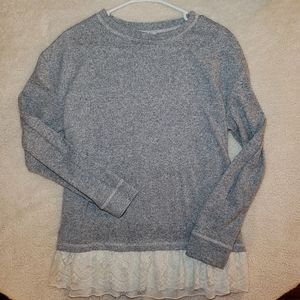 Knox Rose Gray Womens Sweater With Lace Trim